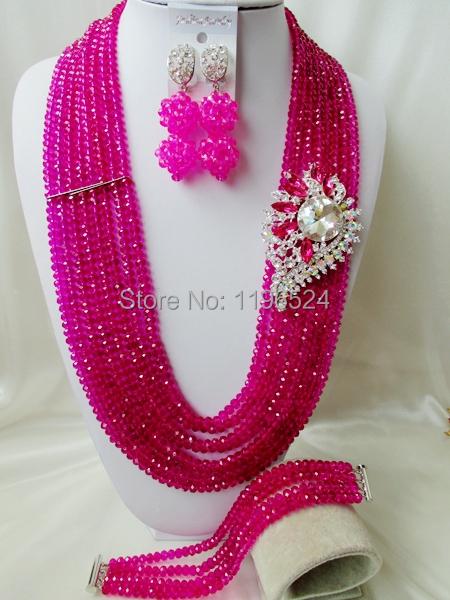 Luxury   Crystal Necklaces Bracelet Earrings African Nigerian Wedding Beads Jewelry Set   A-9922<br><br>Aliexpress