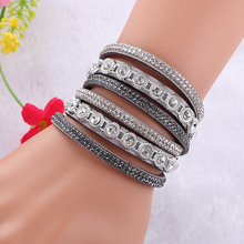 Buy New Fashion Alloy Multilayer Crystal Leather bracelets Fashion Bracelets & Bangles Jewelry Women Men Gift for $1.29 in AliExpress store