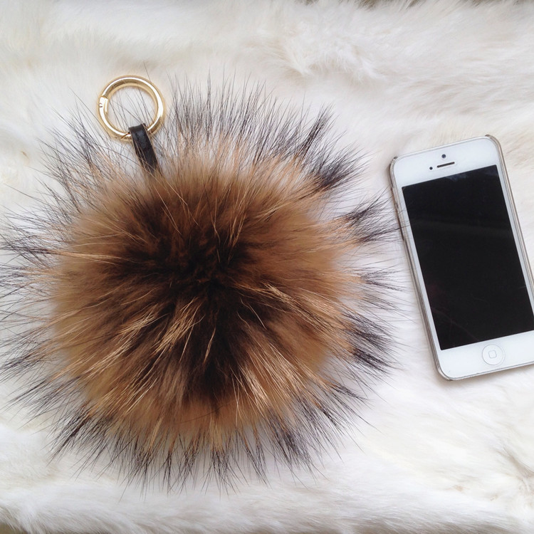 HOT Brand New Design Charm Bag Real Raccoon Fur Pom Accessories Chain Mixed Colors Big Size Ball Bag Accessories Keychain Fur(China (Mainland))