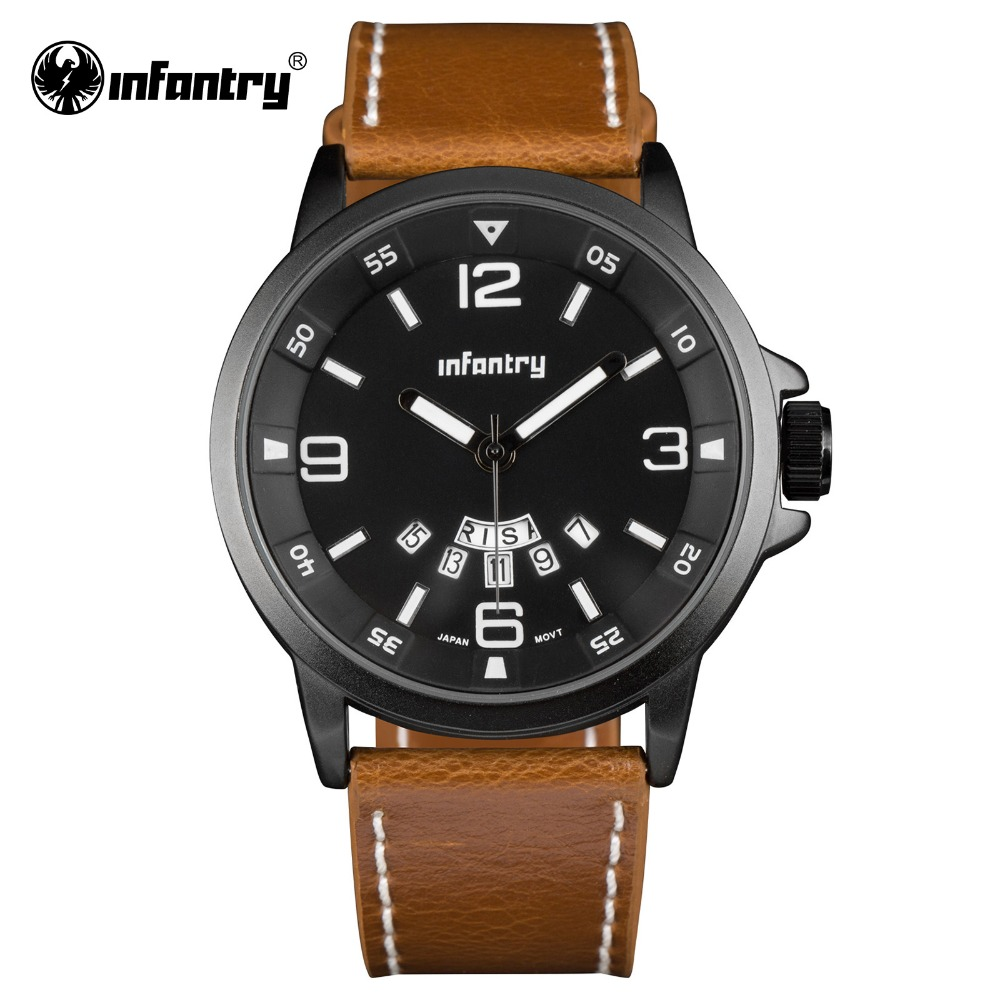INFANTRY 2016 Mens Watches Top Brand Luxury Men's Quartz Watch Waterproof Sport Military Watches Men Leather Relogio Masculino(Hong Kong)