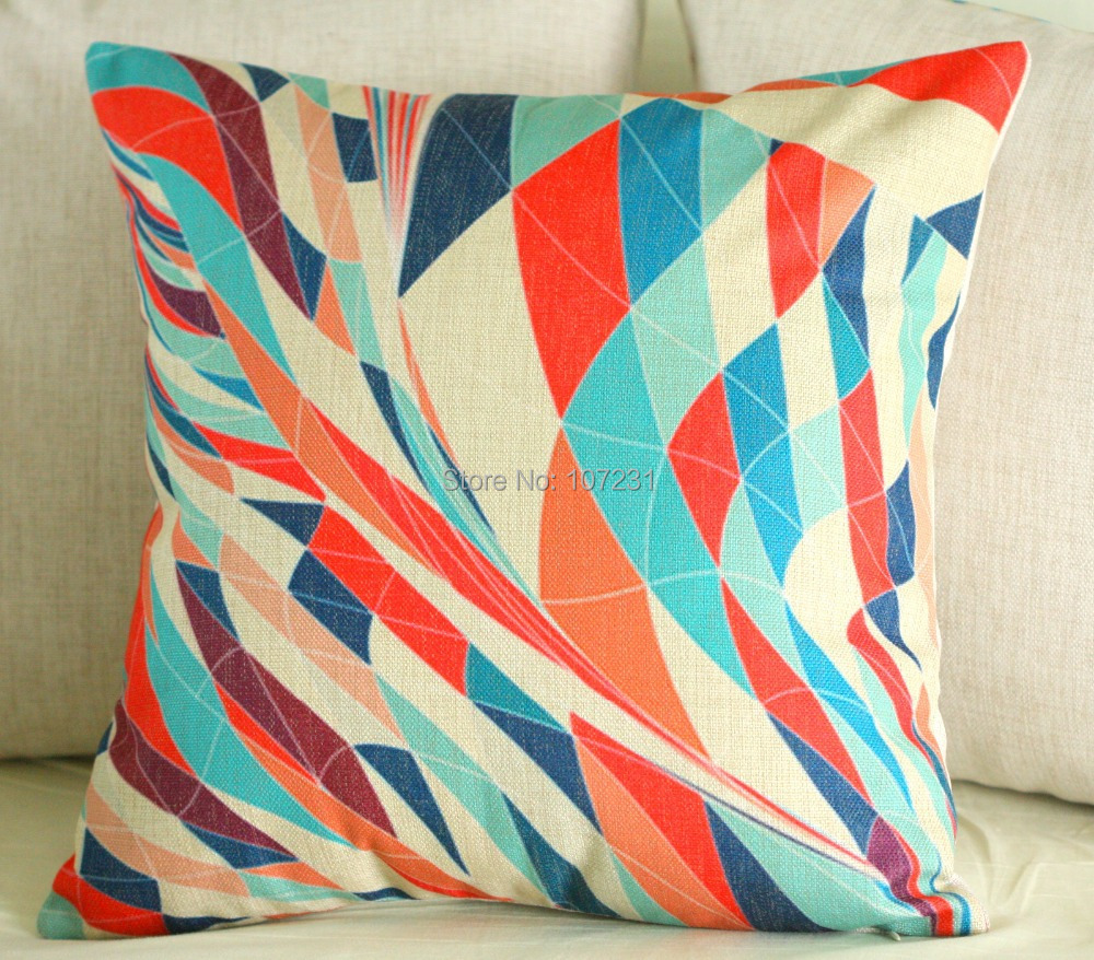 Vintage Throw Pillow Covers : Vintage Linen Pillow Cushion Cover Throw decorative cushion covers 45cm*45cm Colorful Abstract ...