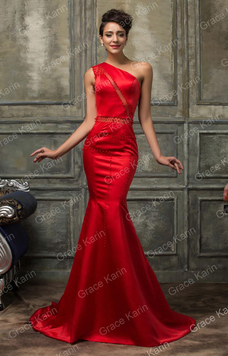 Потрясающие вечерние платья одно плечо атласная длинные красные платья элегантный русалка вечернее платье с бисером H007569