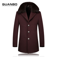 2016 autumn and winter new high-end men's fox fur collar and long sections of pure wool coat jacket wine red woolen coat Europe(China (Mainland))