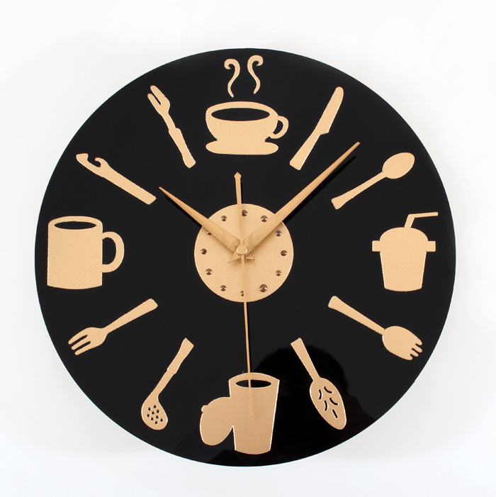 The wholesale price of restaurant kitchen style fashion tableware cutlery clock wall clock bar wall clock free shipping(China (Mainland))