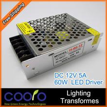 12V 5A 60W 110V-220V Lighting Transformers high quality safe Driver for LED strip 3528 5050 power supply