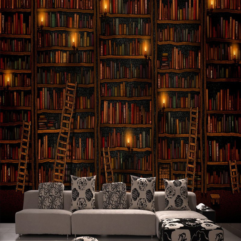 Large mural 3d stereo bookcase seclusion sofa study for Bookshelf mural wallpaper