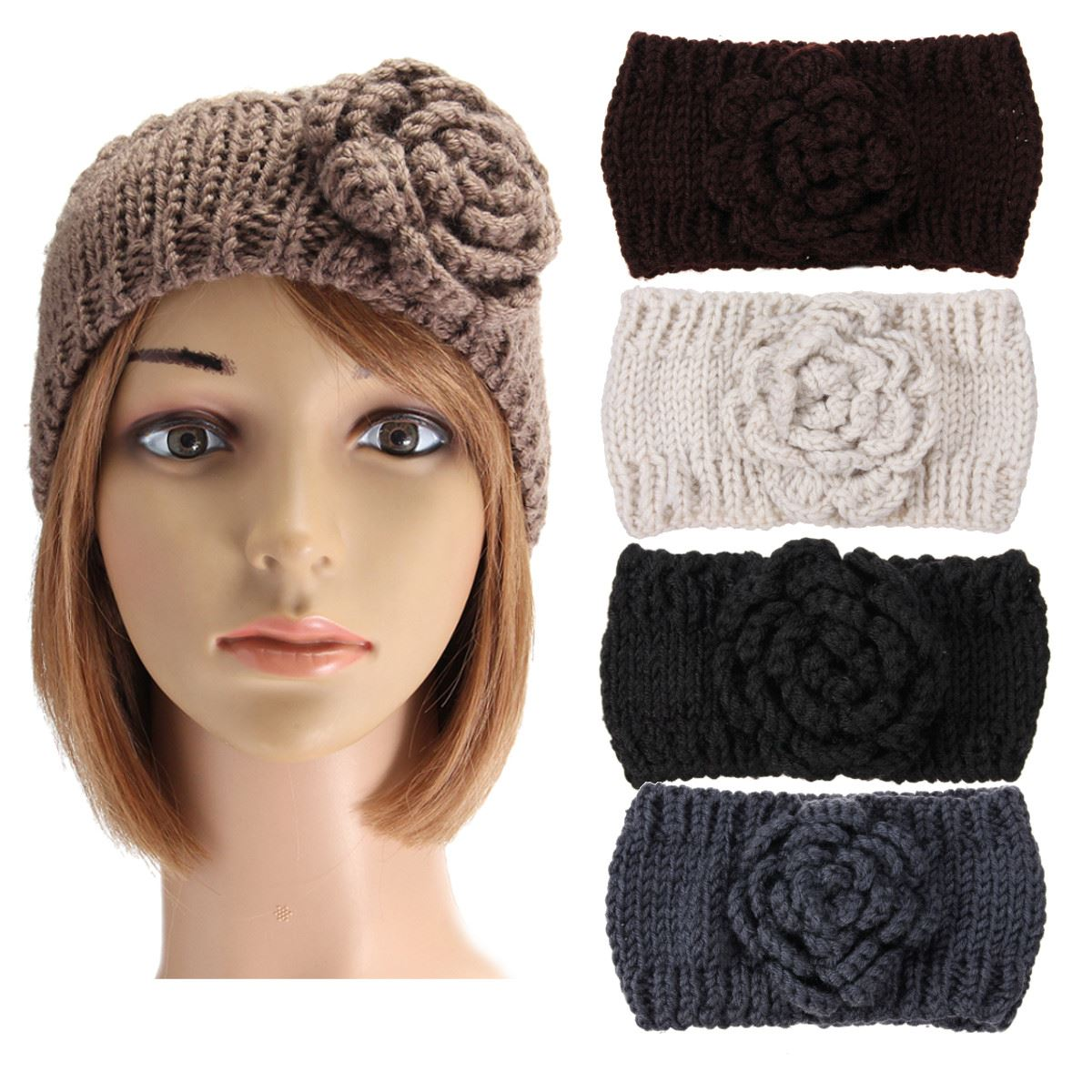Knitting Pattern Ski Headband : 2016 New Arrive Ladies Women Girl Winter Rose Ski Headband ...