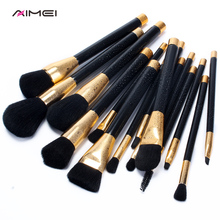 Buy AIMEI 15 Pcs Soft Makeup Brushes Set Plump Face Powder Blending Black Foundation Blusher Brushes Set Comestic Makeup Tools for $21.11 in AliExpress store
