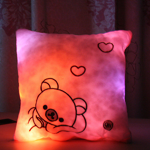 2015 colorful flashing pillow square pillow LED lovers gift free delivery(China (Mainland))