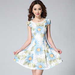 Summer Women's Lace Printed Elegant Slim Waist Fit And Flare Dress Short Sleeve Skater Dresses