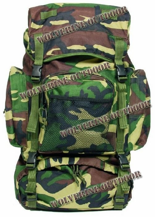 65 L Army Assault Backpack Military Rucksack Pack 82010 (Woodland Camo Bag Backpack) - Wolverine Outdoor's store