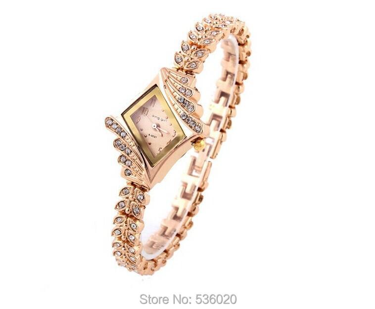 Fashion Lady Dress Bracelet Watch Unique rhombic Dial Watches Women Rose Gold Crystal Rhinestone Alloy Wristwatch Quartz clock - ShenZhen OKE Trade Co.,LTD store