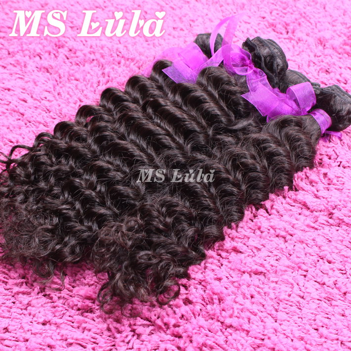 Fast and Free Shipping Unprocessed human hair extension brazilian curly 3pcs lot a full head ms lula hair brazilian virgin hair(China (Mainland))