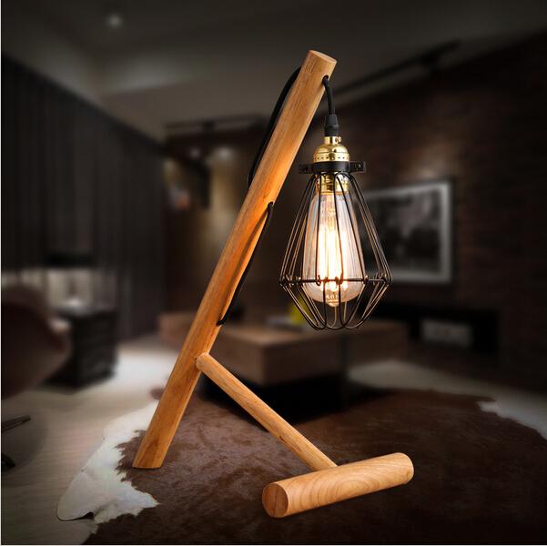 Modern Simple Table Lamp Edison Bulb Table Lamp Art Deco Wood Desk Lamp Bedroom Loft Table Lamps Wooden(China (Mainland))