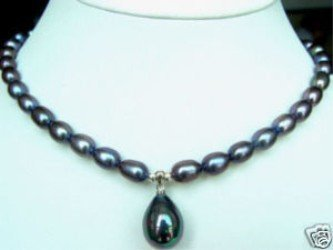 "Wholesales -Jewelry fine black freshwater pearl shell Pendant necklace 17"" Free gift free shipping"
