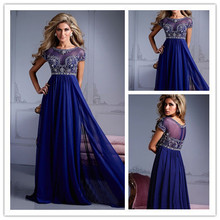 Sexy See Through Long Royal Blue Modest Prom Dresses With Sleeves Empire Beading Top A Line Floor Length Evening Party Gowns(China (Mainland))
