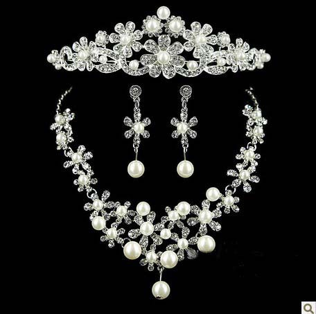 New Arrived Wedding Bridal Rhinestone Imitate Pearl Crystal Jewelry Set White Gold Plated Necklace Earring Tiara Jewelry Set(China (Mainland))