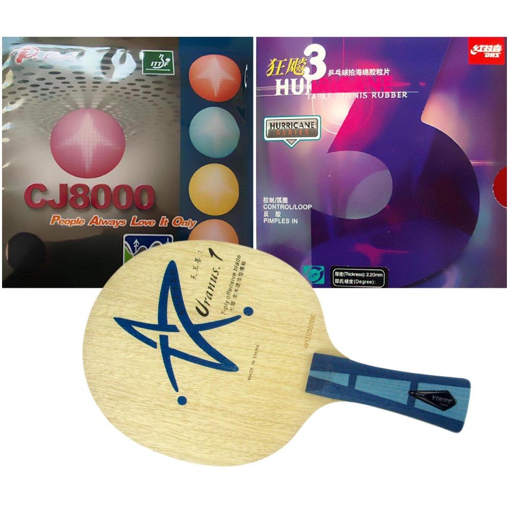 Pro Table Tennis/ PingPong Combo Racket: Galaxy Uranus.1 with DHS Hurricane 3 / Palio CJ8000 (BIOTECH) 2-Side Loop