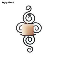 1pcs Handmade Iron Hanging Wall Sconce Candle Holder Shelf Furnishing Articles Candlestick(China (Mainland))