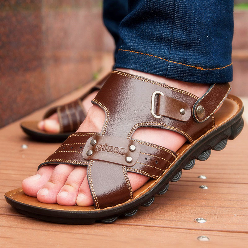 2015 New Rubber sandalias mujer sandals men casual summer leather shoes male beach slippers soft bottom sandals for man shoes(China (Mainland))