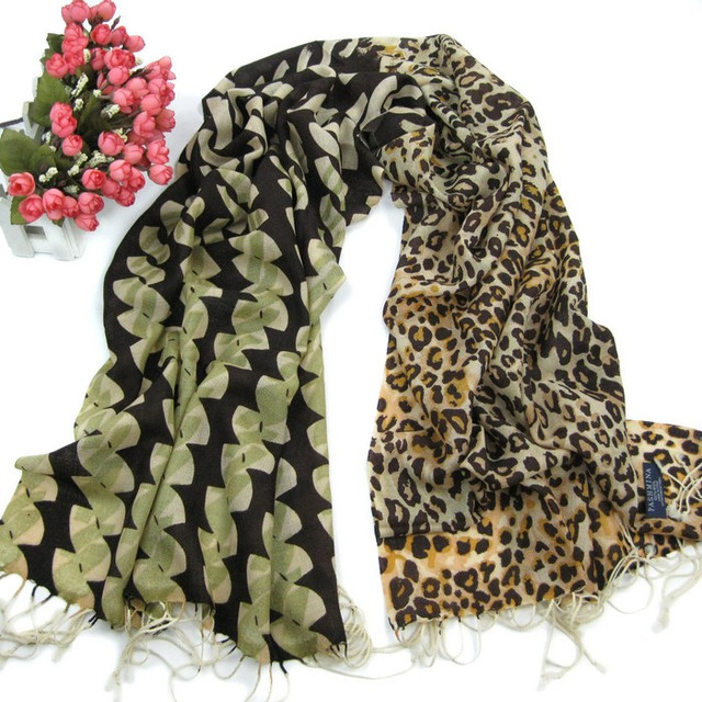 Leopard print scarf 2012 autumn and winter women's thin pure wool scarf cape y11804