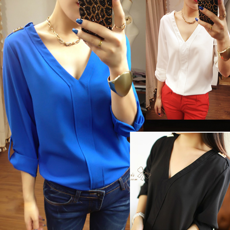 2014 spring long-sleeve V-neck mm chiffon shirt plus size shirt female basic shirt female shirtОдежда и ак�е��уары<br><br><br>Aliexpress