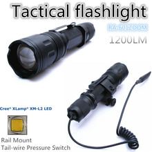 RA-601ZOOM[TTWS] CREE XM L2 U2 COOL WARM WHITE torch Tactical Flashlight power 18650,with Rail Mount,Tail-wire Pressure Switch(China (Mainland))