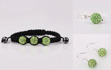 Free shipping! 2014  rfdwws  Disco Ball Beads Crystal Shamballa Set Bracelet Earring  fasion women Gift jewelry New Style.(China (Mainland))
