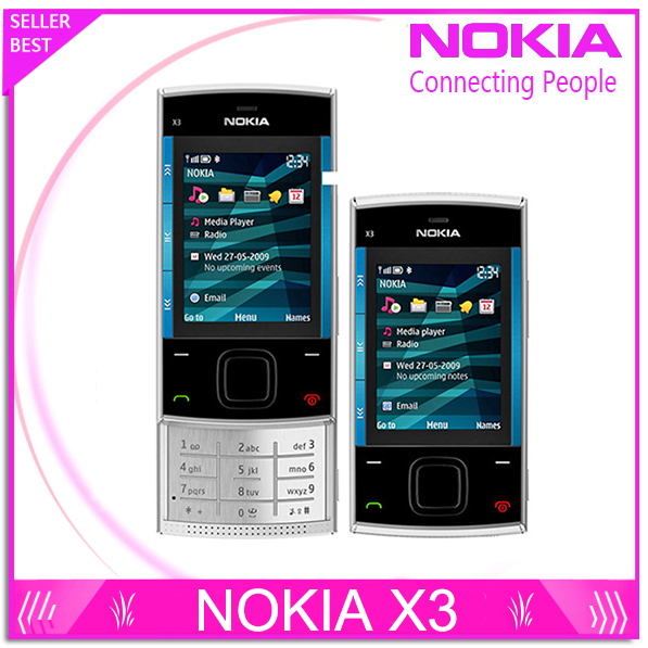 x3 Original Nokia X3 Mobile Cell Phone Bluetooth 3.2MP MP3 Player X3-00 Slider Cellphone Unlocked & One year warranty(China (Mainland))
