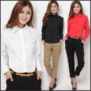 Wholesale 4pcs black white red women woman female ladies' slimming elegant long sleeve OL shirt blouse cloth top FZ-W001-80SCXCS