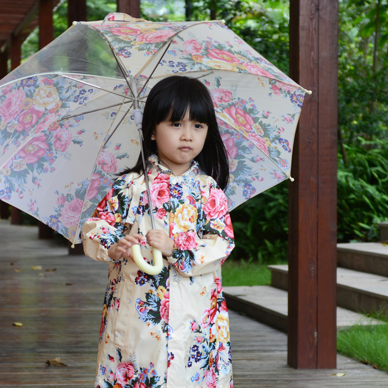 Fashion spring and autumn baby raincoat flower female ...