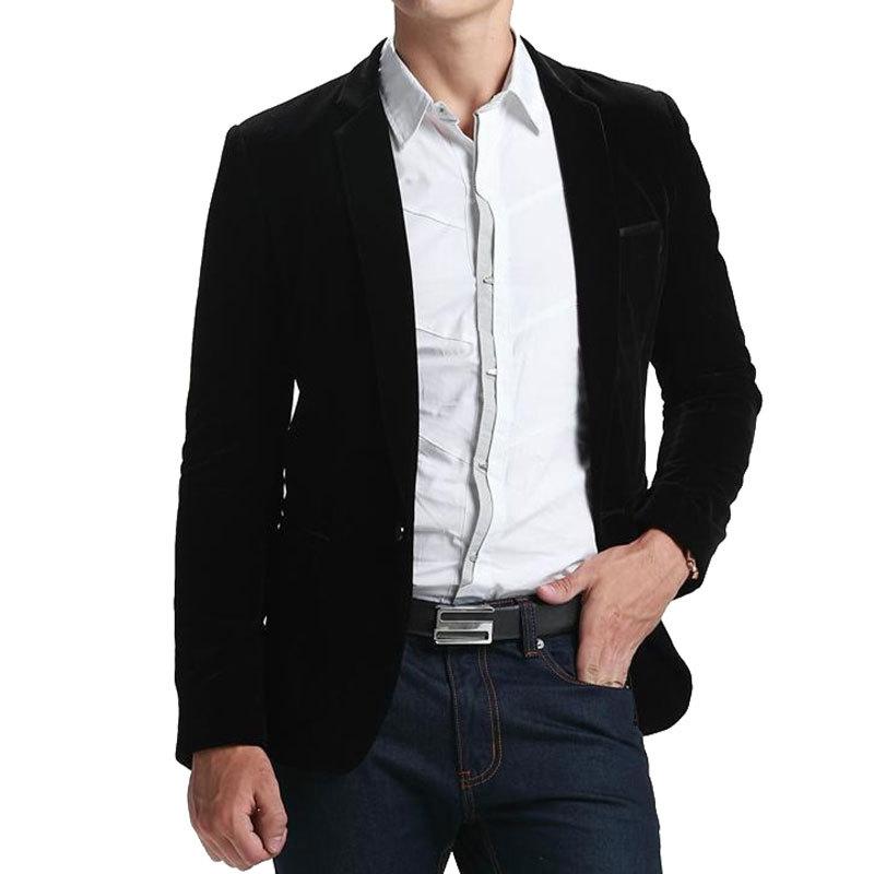 High Quality Black Velvet Blazer Men 2016 New Arrival Mens Fashion Slim Single Button Blazer ...