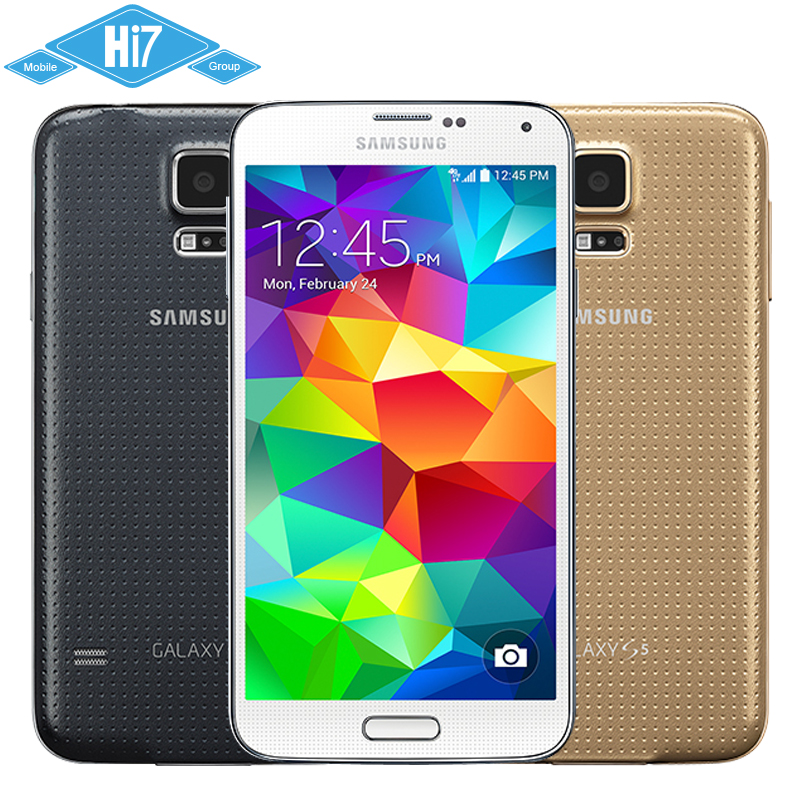 Original Unlocked Samsung Galaxy S5 Mobile Phone i9600 Quad Core 2GB RAM 16GB ROM 16MP Camera 5.1 inch 4K Super AMOLED Screen(China (Mainland))