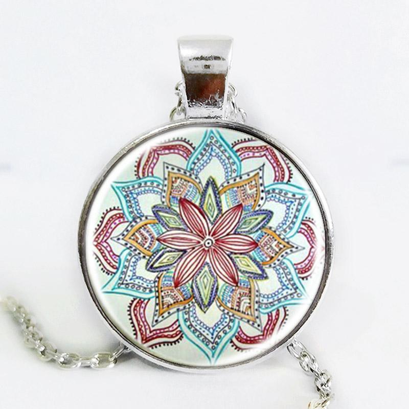 Gem dome glass rhinestone necklaces jewelry mandala flower pendant & necklace henna yaga necklace om symbol buddhism zen 3 color(China (Mainland))