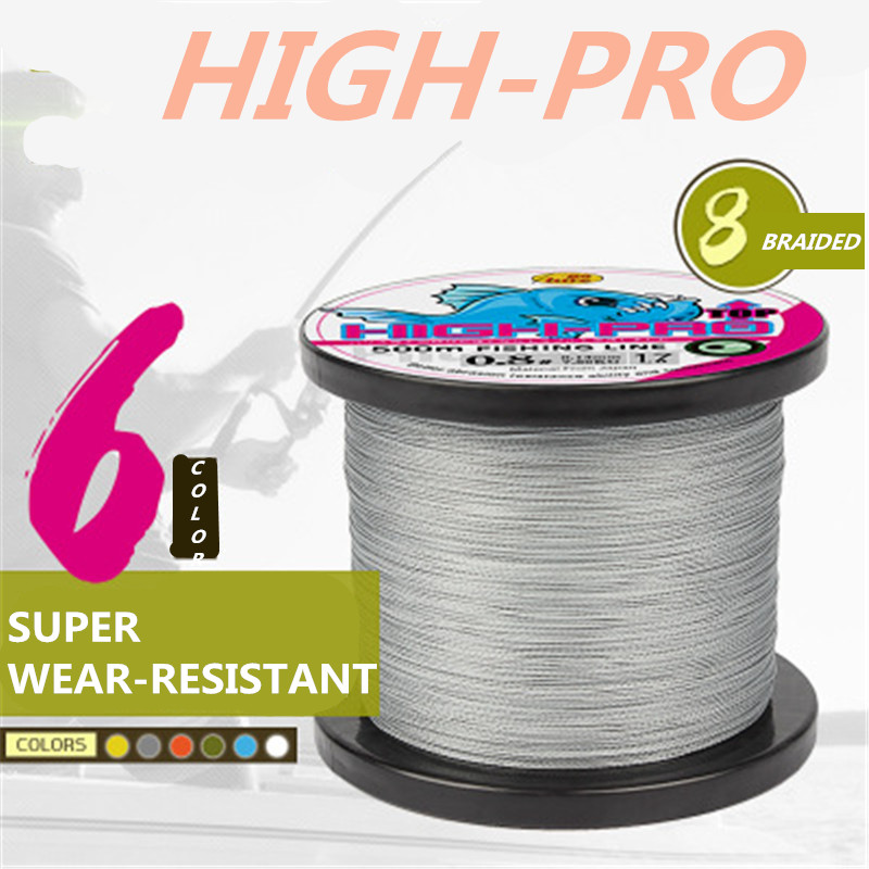 6 Colors PE Fishing Lines Monochrome 8 Braided 500 Meters Strong Horse Woven Strands of PE Sub Sea Rod Fishing Lines(China (Mainland))