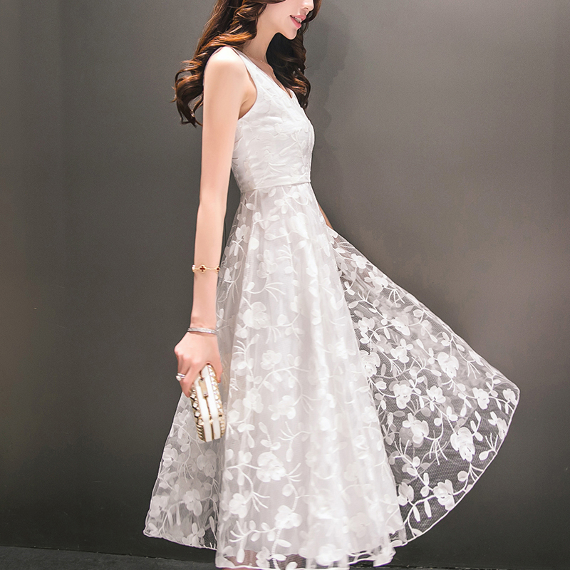 Summer Dress 2017 New Women O-Neck Sleeveless Sweet Ball Gown White Organza High Low Evening Party Mid Calf Dress Plus Size(China (Mainland))