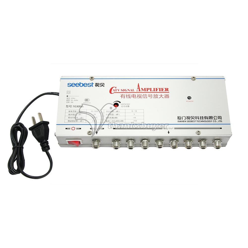 SB-1030M8 8 Way CATV Signal Amplifer Sat Cable TV Signal Amplifier Splitter Booster CATV 30DB(China (Mainland))