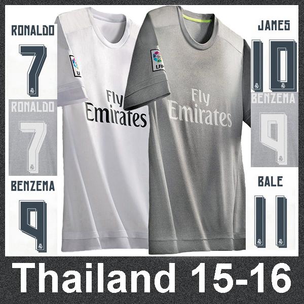 Thailand soccer jersey Real madrid 2016 camisetas de futbol Ronaldo Bale James Real madrid jersey 15 16 maillot de foot shirts(China (Mainland))