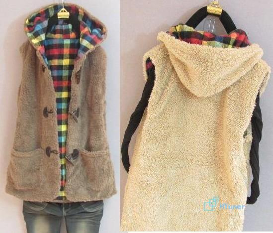 Пункт сладкий прекрасный закрытый воротник кашемир мыс одежда очень толстый зима топы осень женщины в жилет