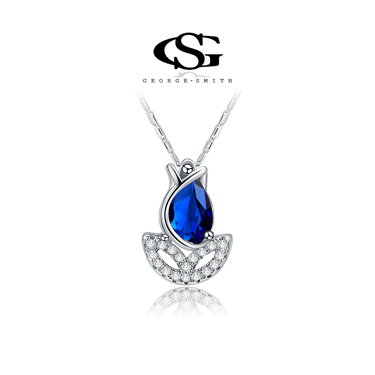 G S Brand Christmas Gift Platinum Plated Blue Rose Flower Necklace Fashion Jewelry Necklaces For Women