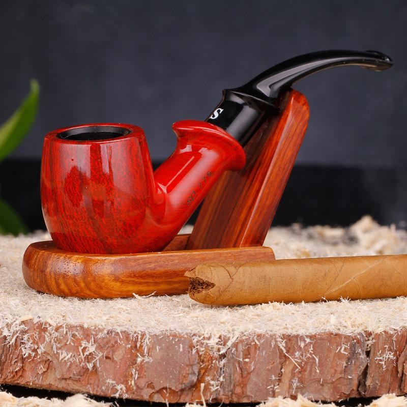 Retro Red Bakelitey Wood Smoking Pipe Bent Handmade Red Tobacco Pipe Smoking Pipes Send Smoking Set