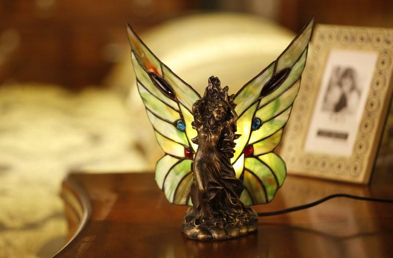 Купить Ангел Спрайты Оргстекло Бабочки Настольная Лампа Творческие Искусство Настольная Лампа Старинные Тиффани Спальня Прикроватный Ночник