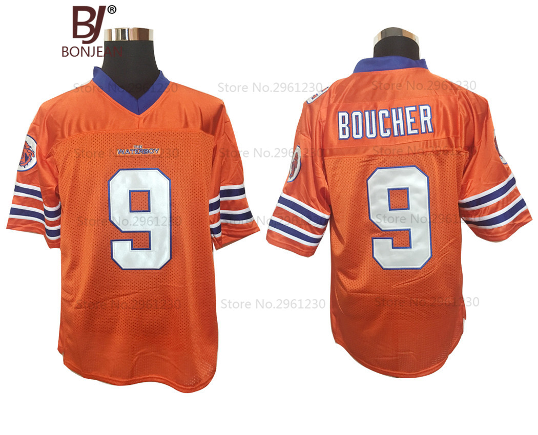 BONJEAN Mens Adam Sandler 9 Bobby Boucher American Football Jerseys The Waterboy Mud Dogs Football Jersey-Orange(China (Mainland))