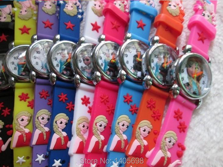 Free Shipping 10pcs lot Silicone Pink Cute Frozen Watch Cartoon 3D Cartoon Children Kids Girls Quartz