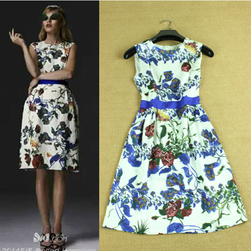 2015 Fashion Summer European Casual Classy Flower Print Sleeveless & Knee-Length Elegant Slim Blue Peacock Dresses(China (Mainland))