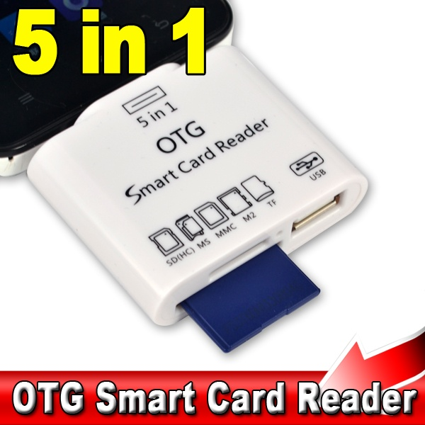 5 in 1 Micro USB V8 OTG Smart Card Reader Adapter for SD MS MMC M2 TF Card Connection Kit for S2 S3 S4 Android Phones(China (Mainland))