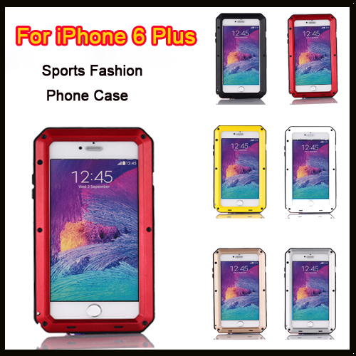 Luxury armor Dirt Shock Weatherproof 4 proofs Metal Alloy cell phone case For iphone 6 Plus + Gorilla Glass(China (Mainland))