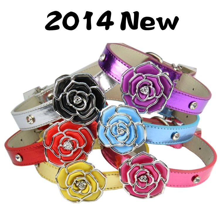 (12 pieces/lot) Leather Dog Collar Pink Red Blue Gold Purple Sliver Soft PU Leather Material Plastic Flower sparkle dog collars(China (Mainland))