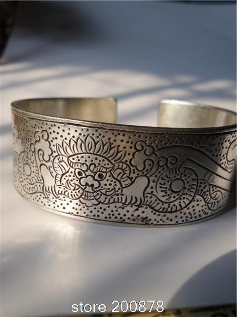 BB-027 Tibetan Silver Antiqued Wide Amulet bangle Chinaese Classical Dragon Phinex open cuff bracelet Wholesale(China (Mainland))