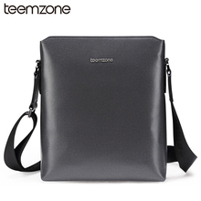 teemzone New Style Men's Genuine Leather Business Casual Messenger Shoulder Bag Tablet Satchel Cross Body Book Bag Gray T0855(China (Mainland))